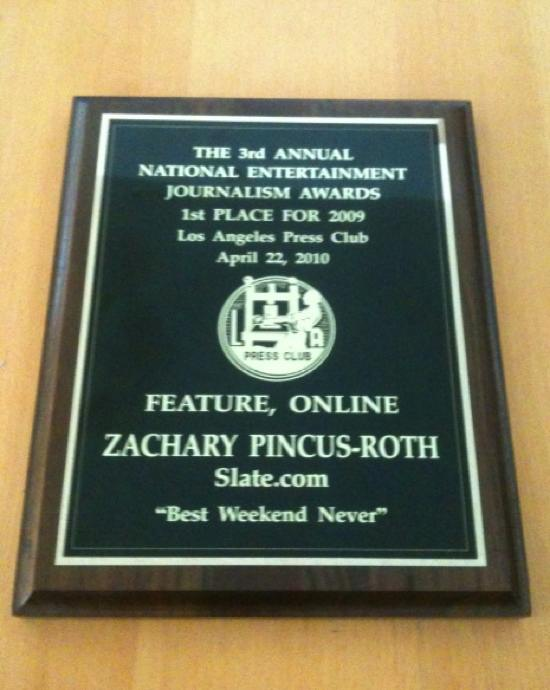 National Entertainment Journailsm Award