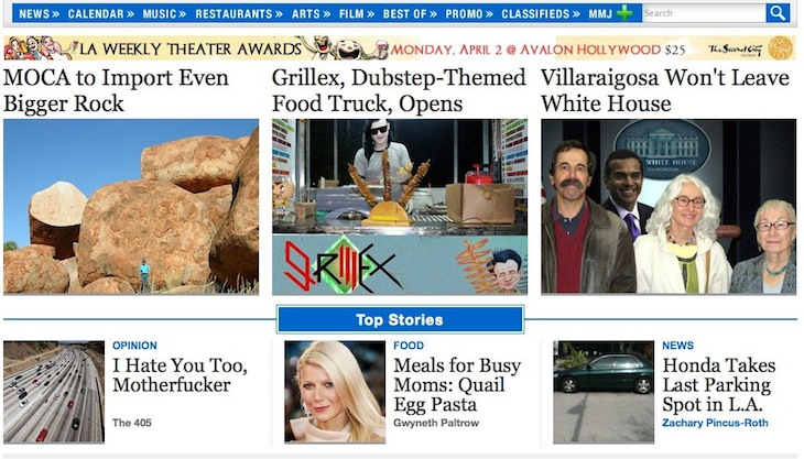 LA Weekly Home Page April 1 2012